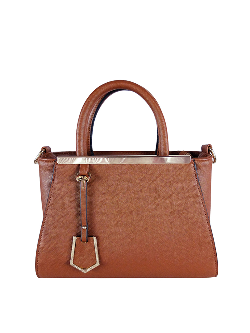 Choki Handbag - 6043 Elegant Classic Handbag with Mini Tag Brown RM65.00
