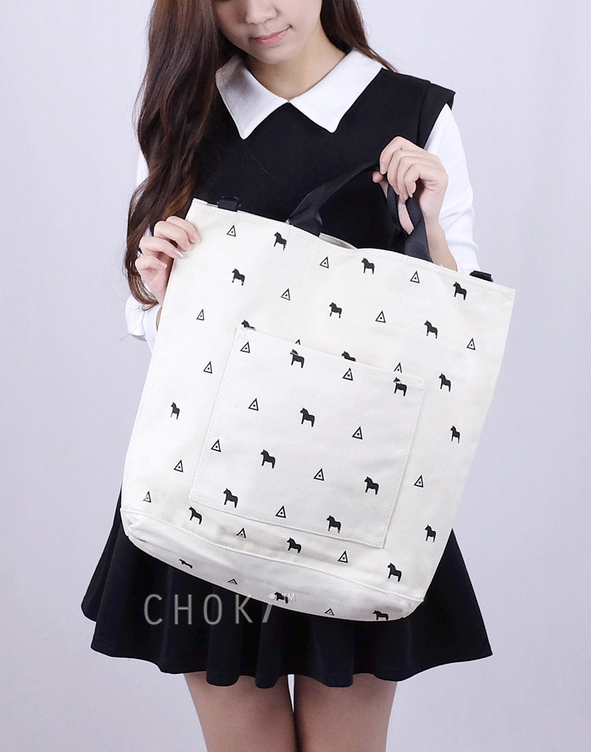 Choki.com.my - 5146 Korean Horsie Canvas Tote Bag RM49.00
